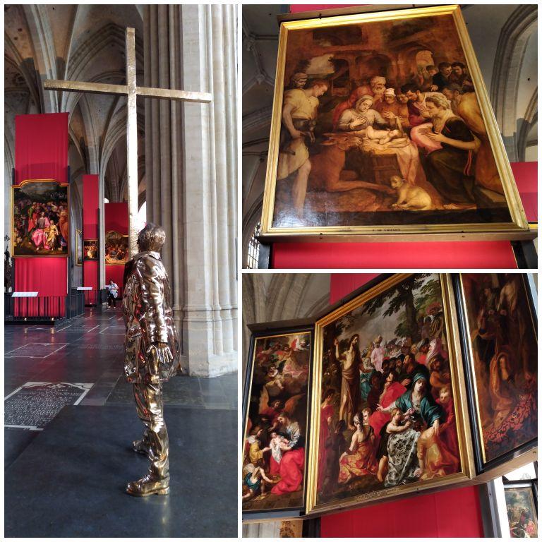Pinturas e esculturas dentro da Onze-Lieve-Vrouwekathedraal Antwerpen (Catedral de Nossa Senhora)