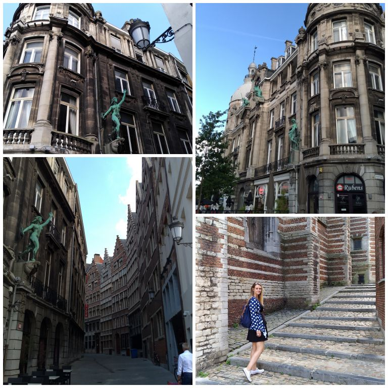 Ruas e edifícios históricos nos arredores do Het Steen