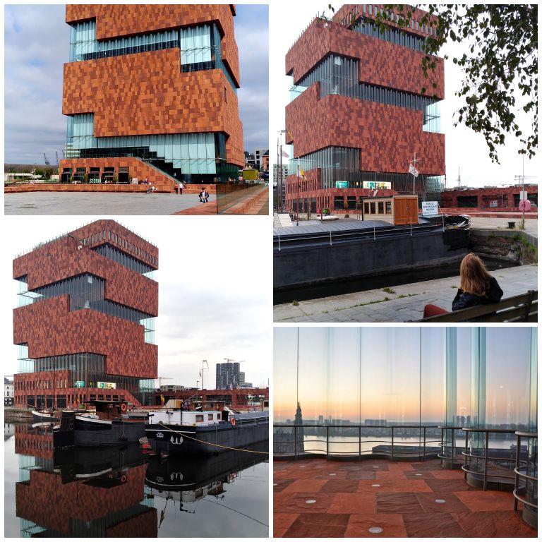 MAS|Museum aan de Stroom: detalhes do edifício e vista do terraço