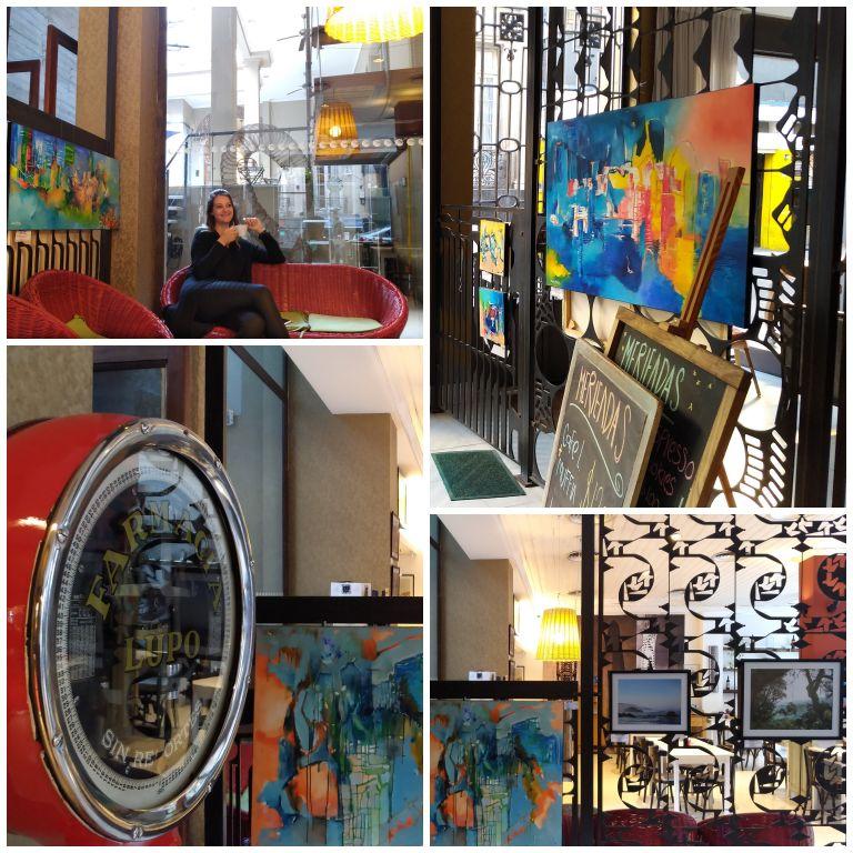 Detalhes das obras de arte e objetos antigos nos espaços internos do Hotel Pátios de San Telmo