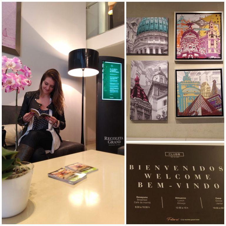 Detalhes das áreas internas e da decoração do Recoleta Grand Hotel