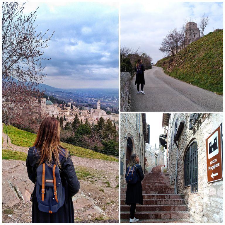 Um pouco do caminho e do visual na subida e na descida para a Rocca Maggiore