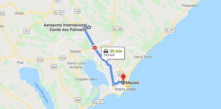 Trajeto do aeroporto de Maceió até a cidade leva cerca de 40 minutos