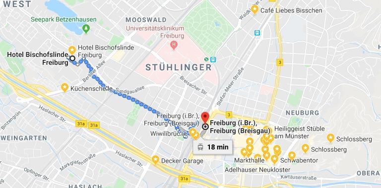 Trajeto do hotel até o centro de Freiburg de tram/bonde