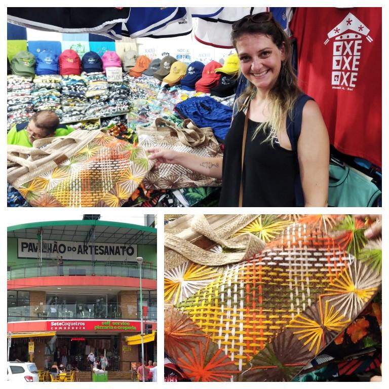 Ferinhas de artesanato em Maceió: bolsa de filé alagoano