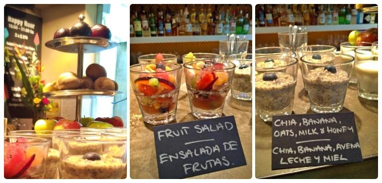 Uma linha mais saudável com frutas frescas, salada de frutas e preparo de aveia