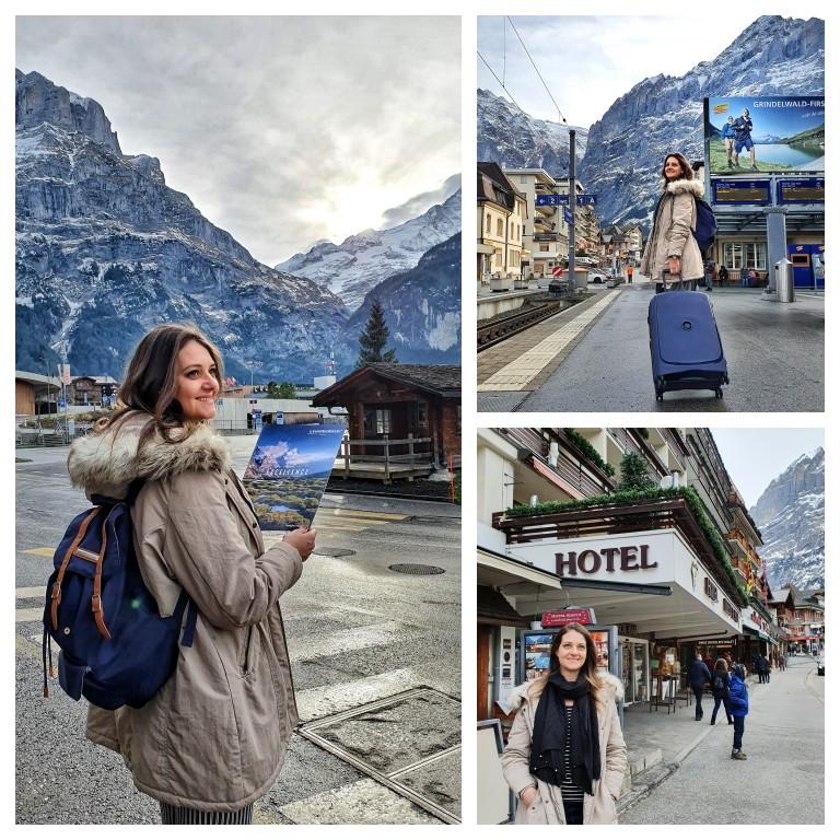 Chegando ao hotel Kreuz & Post em Grindelwald