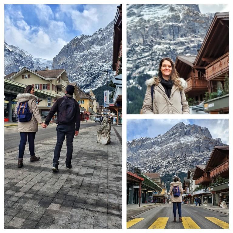 Caminhando pela rua principal de Grindelwald, a poucos metros da estação de trem