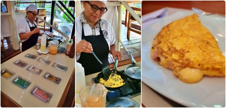 Ilha de omeletes, ovos mexidos e crepes do Hotel Du Parc Royal