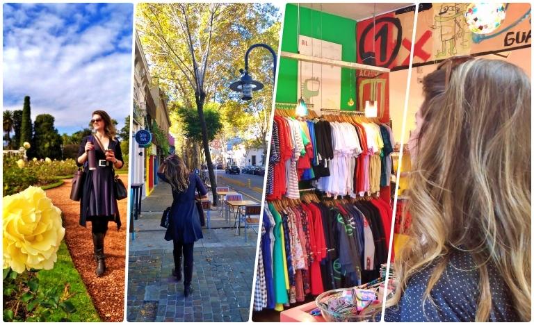Dos parques de Palermo, o Rosedal é um dos mais visitados; Ruas arborizadas do bairro e lojas de produtos fabricados na Argentina na imediações da Ferinha de Palermo