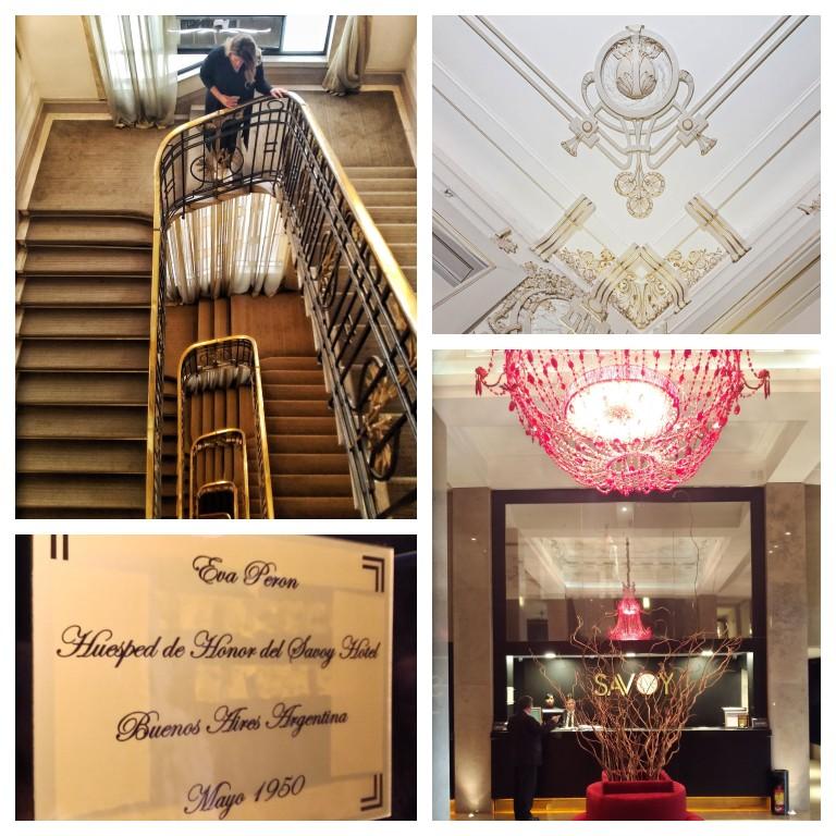Detalhes da decoração do Savoy Hotel e a placa que celebra a hóspede de honra: Eva Perón