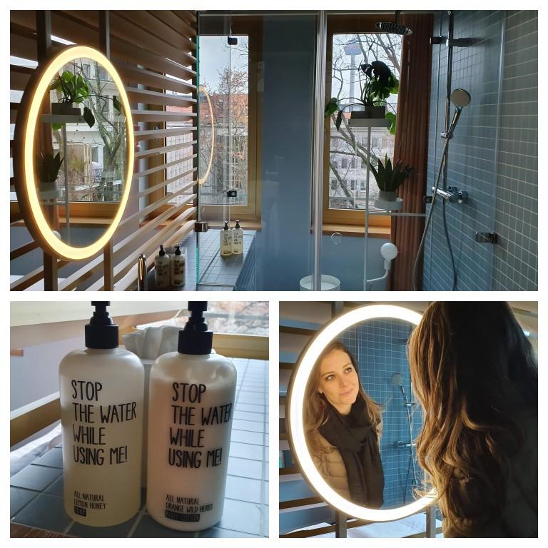 Detalhes do banheiro do nosso quarto no 25hours Hotel The Circle