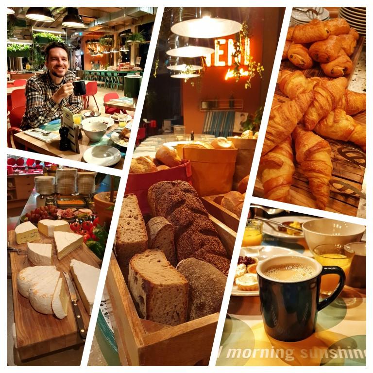 Pães diversos, croissants, pain au chocolat - detalhes do café da manhã