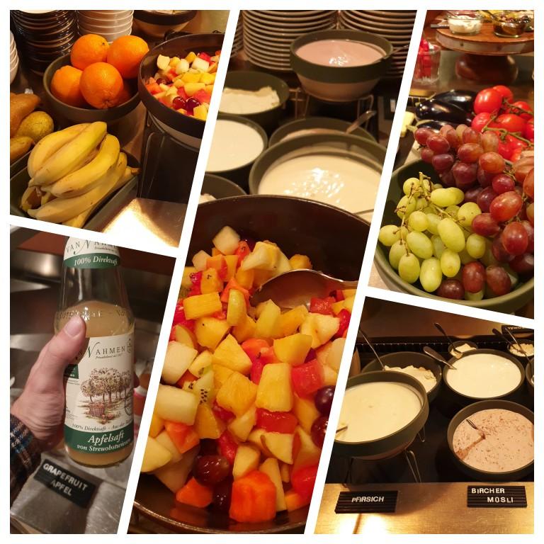 Frutas frescas, salada de frutas, sucos e grande variedade de iogurtes