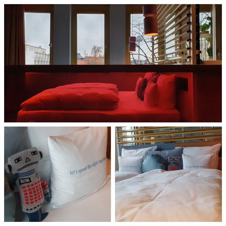Detalhes do quarto com cama king size