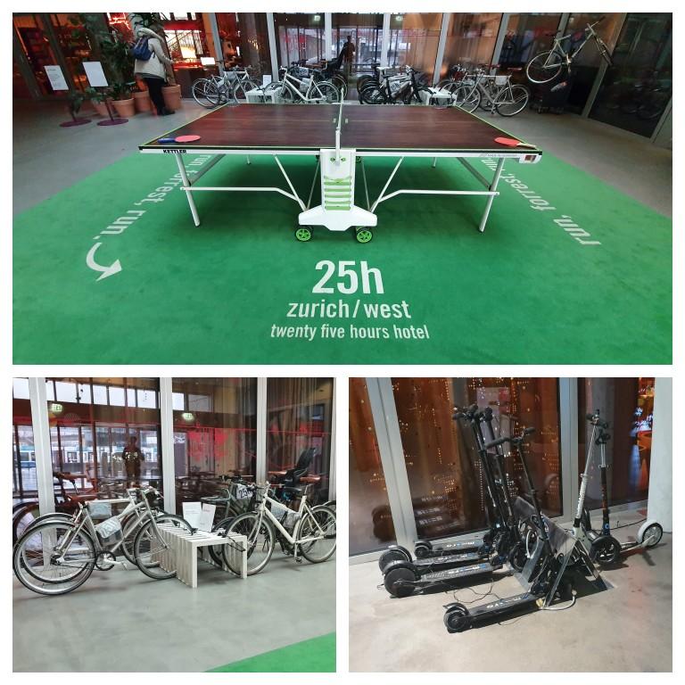 Mesa de ping-pong, bicicletas e patinetes para o hóspedes