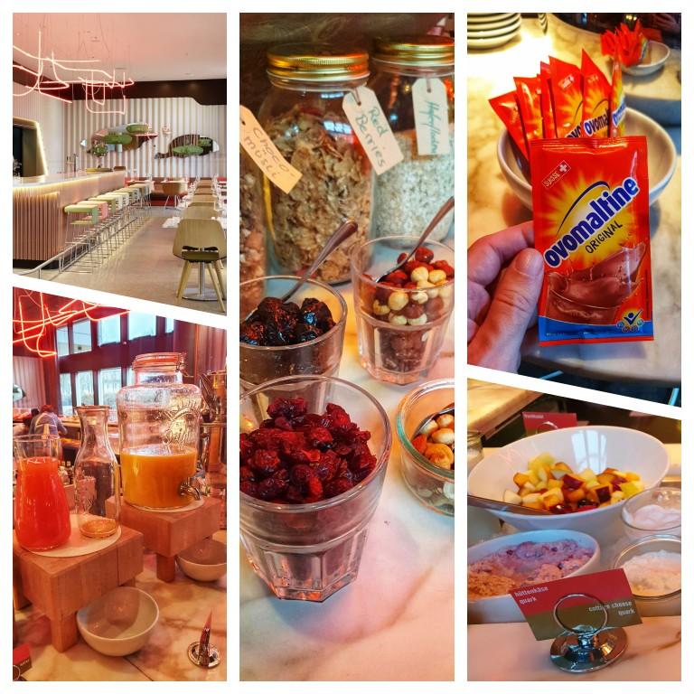 Buffet de café da manhã com frutas, sucos, granolas, castanhas e até sachê de ovomaltine