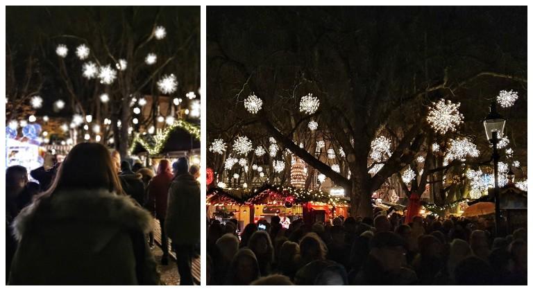 Luzes se acendendo na cerimônia de abertura do Basler Weihnacht