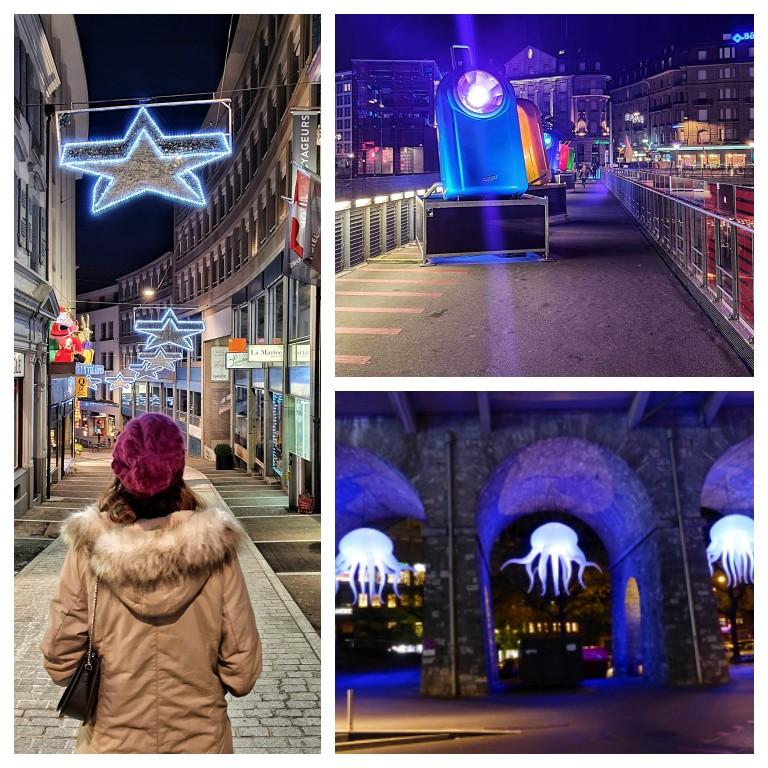 Iluminação do Natal e do festival de luzes em Lausanne