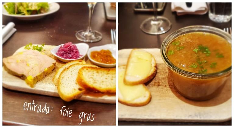 Entradas: foie gras e sopa de cebola