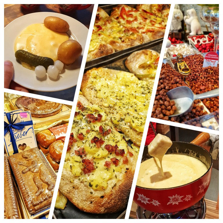 Algumas das comidas típicas dos mercados de Natal na Suíça: raclette, fondue, biber,flammkuchen e amêndoas