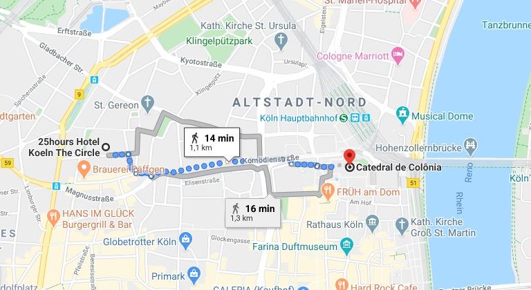 Distância do hotel até a Catedral de Colônia