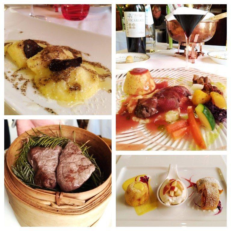 Primo piatto, secondo piatto e sobremesas na Osteria Le Due Spade, em Trento