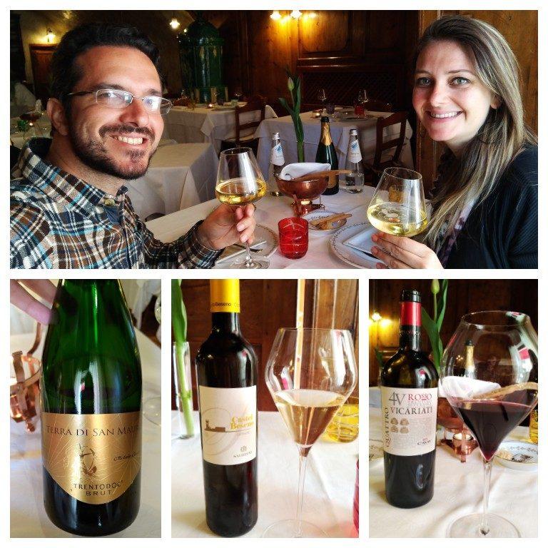 Harmonização com vinhos locais no menu degustação da Osteria Le Due Spade