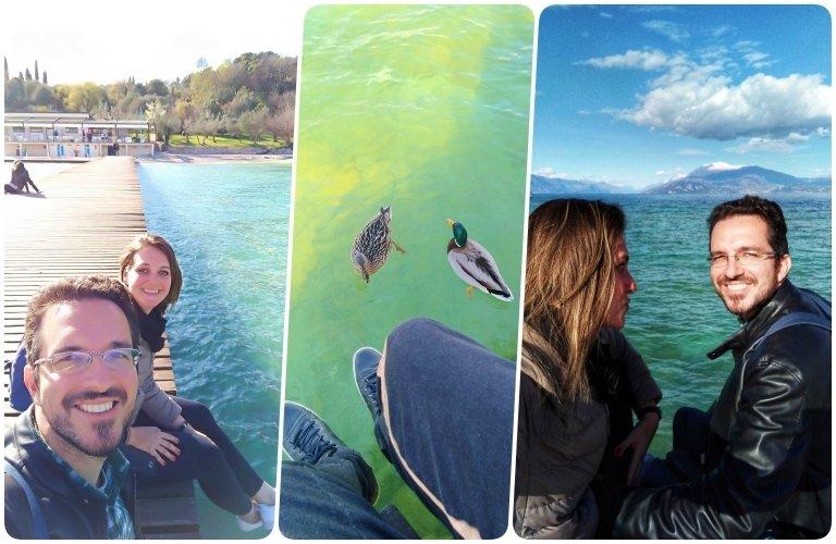 Na beira do lago di Garda com os patos nos cercando