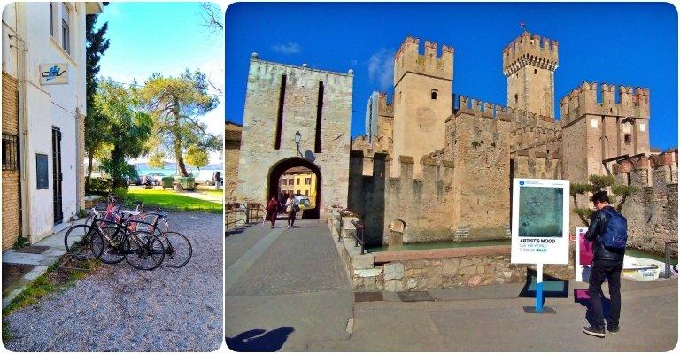 As bicicletas ficaram no bicicletário do lado de fora da cidade murada