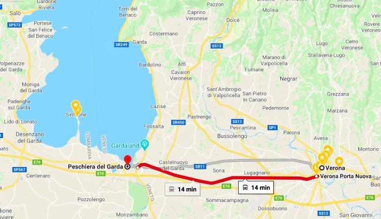 Trajeto de trem de Verona à Peschiera Del Garda