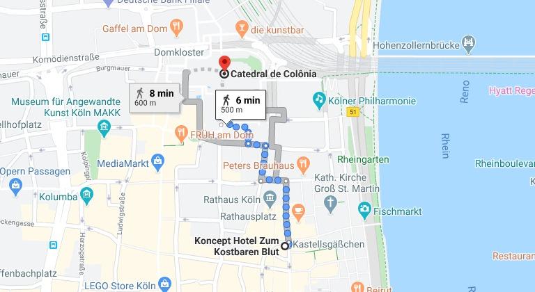 Distância do Koncept Hotel até a Catedral de Colônia e a estação central de trem