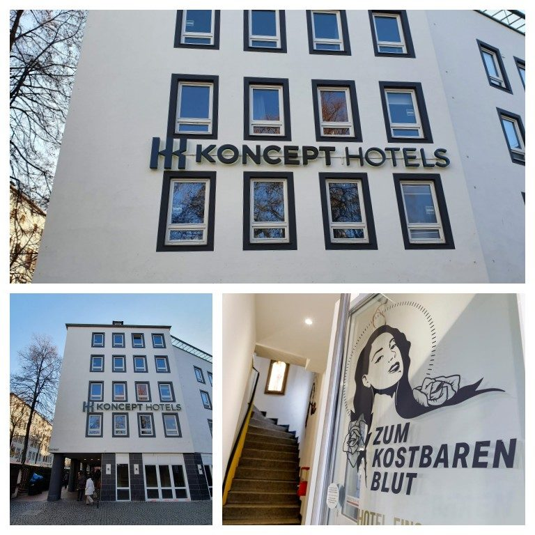 Detalhes do prédio e da entrada do Koncept Hotel em Colônia