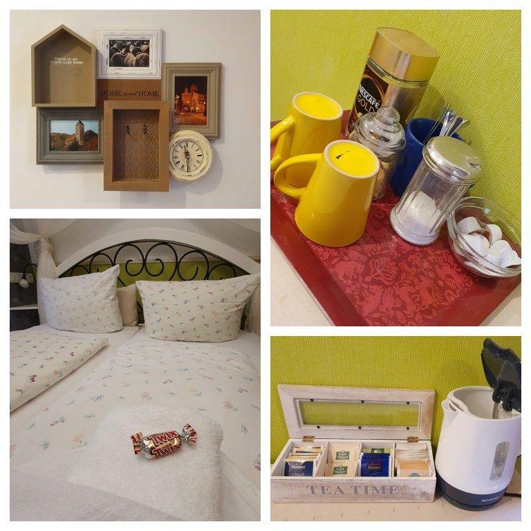 Detalhes da decoração, café, chás, biscoitos e até um chocolate na cama a disposição dos hóspedes