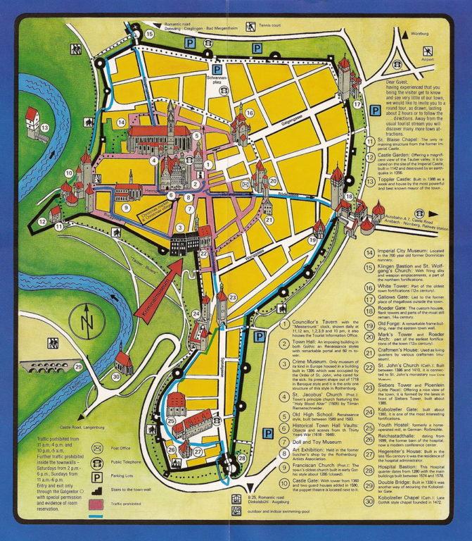 Mapa ilustrando as muralhas medievais de Rothenburg ob der Tauber