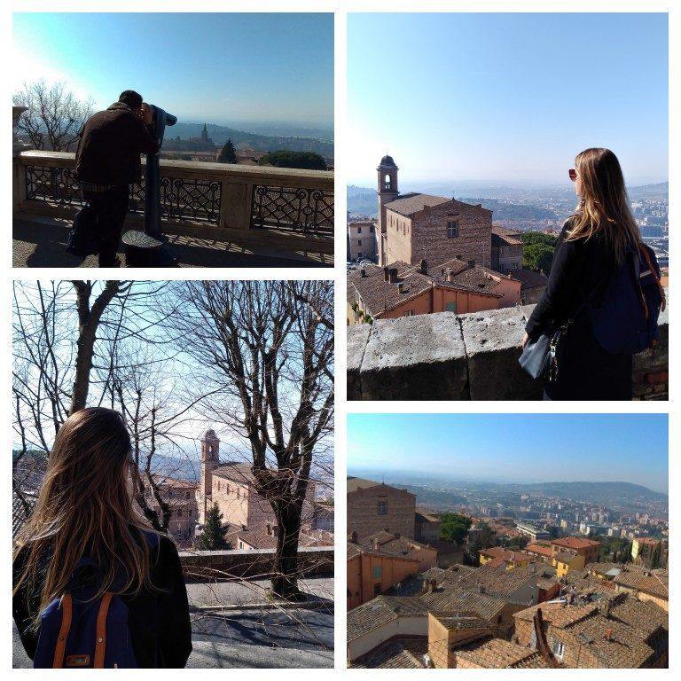 Belas vistas da cidade a partir do Panorama dai Giardini Carducci