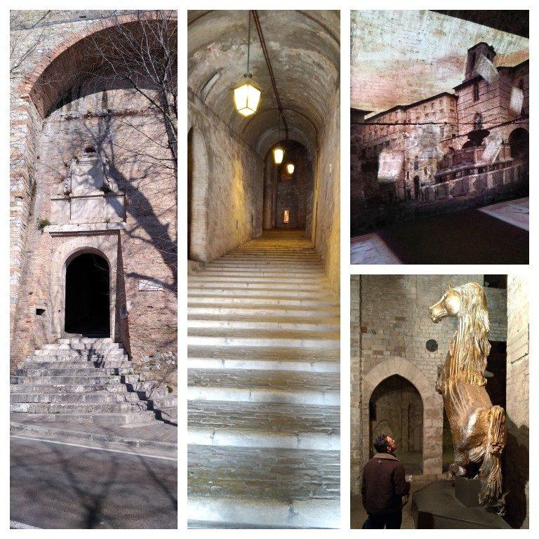Porta Marzia e interior da Rocca Paolina