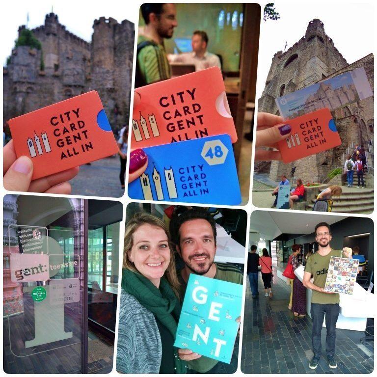 Pegando o CityCard Gent no escritório de turismo