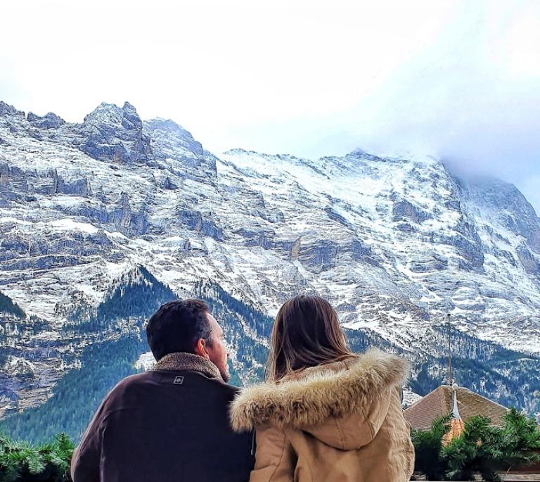 A face norte da montanha Eiger, uma verdadeira muralha de neve