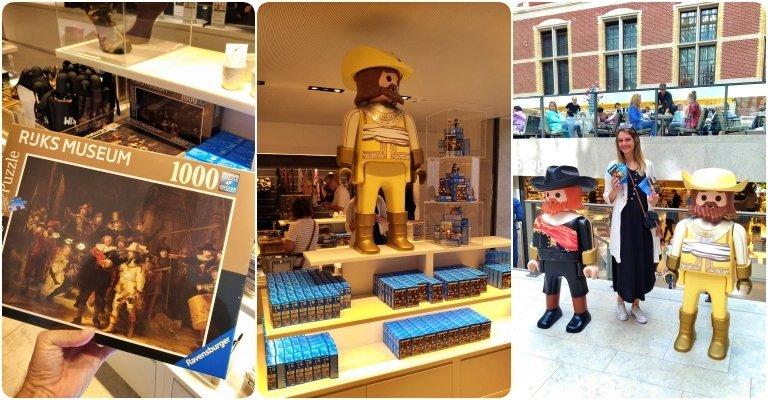 Rijksmuseum: loja da museu e Chai com os personagens de playmobil