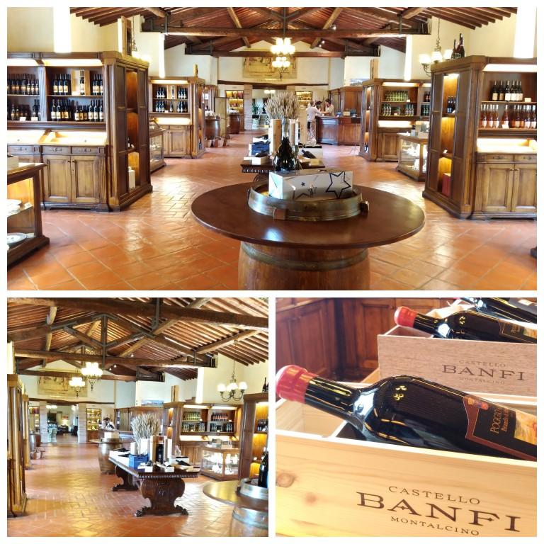Loja e sala de degustação da vinícola Banfi