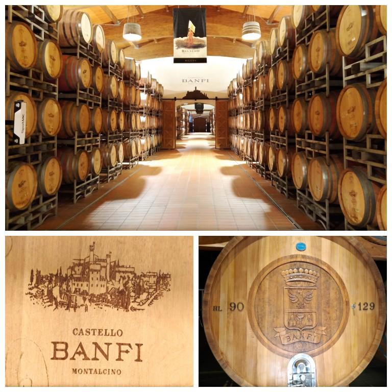 Visita à adega onde ficam armazenados os vinhos Banfi