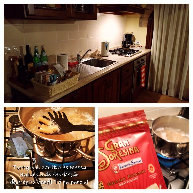 Preparando o jantar na cozinha do agriturismo