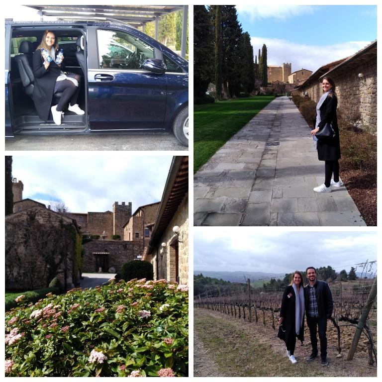 De carro pela propriedade da vinícola Banfi até as videiras de uva Sangiovese