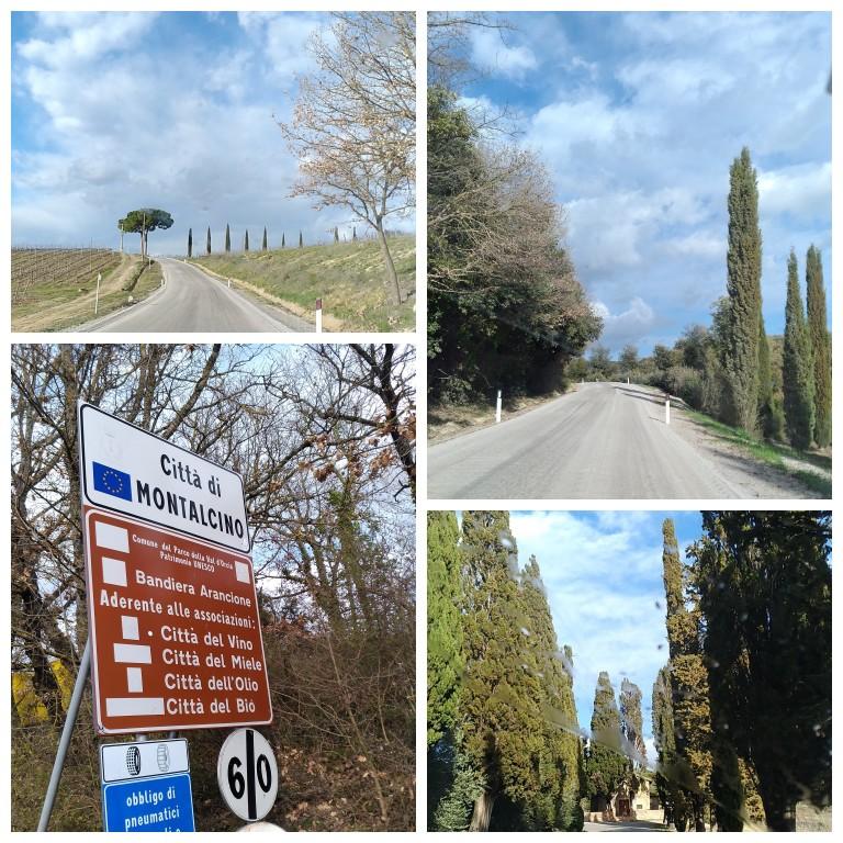 Detalhes da estrada até o Castello Banfi