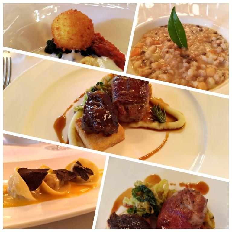 Pratos no menu degustação do restaurante La Taverna