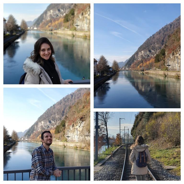 Caminhando pela margem do rio Aar, em Interlaken