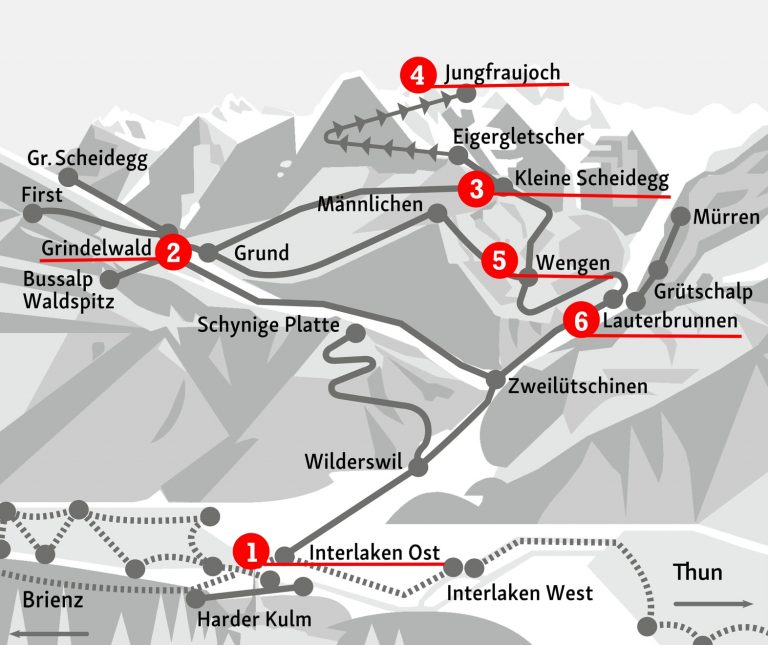 Mapa do trajeto de trem entre Interlaken e o Jungfraujoch - Top of Europe