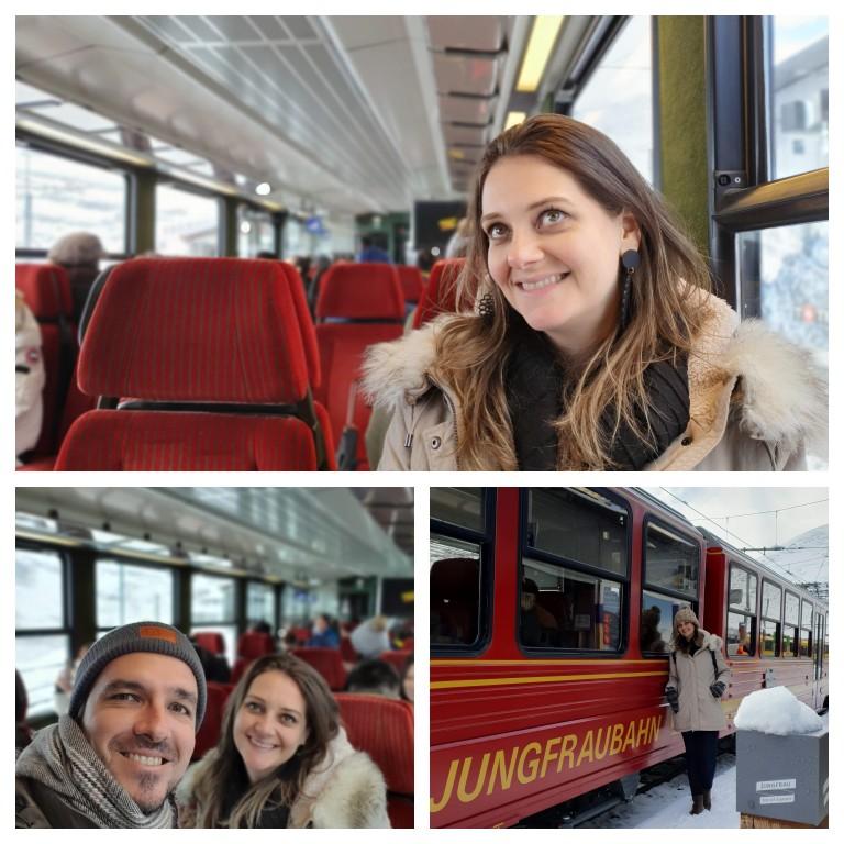 Dentro do trem da Jungfrau rumo ao Jungfraujoch - Top of Europe