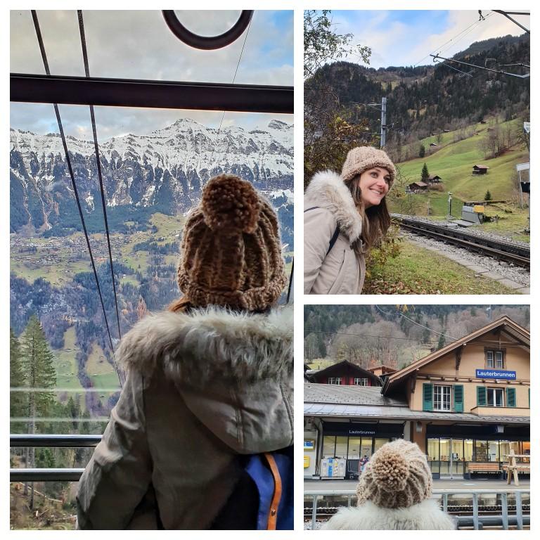 De trem e de teleférico em Lauterbrunnen, na Suíça